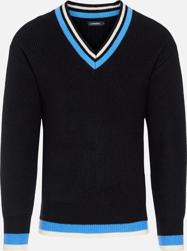 J.Lindeberg Pullover 'Landon Dense Rib' in hellblau   schwarz   weiß  Freizeit, schlank, schlank