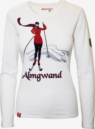 Almgwand Shirt 'Muhreralm' in hellgrau / rot / schwarz / weiß, Produktansicht