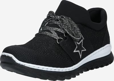 RIEKER Šněrovací boty - černá / stříbrná / bílá: Pohled zepředu