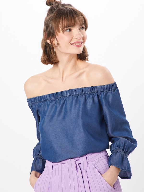 ONLY Bluse 'onlSECOLAS 3/4 OFF SHOULDER DNM TOP' in blue denim, Modelansicht