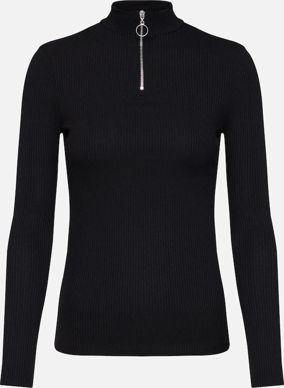 'zip High shirt Neck Ls' T En New Look Noir bf6gY7y