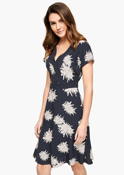 s.Oliver BLACK LABEL Kleid in beige / kobaltblau / weiß, Modelansicht