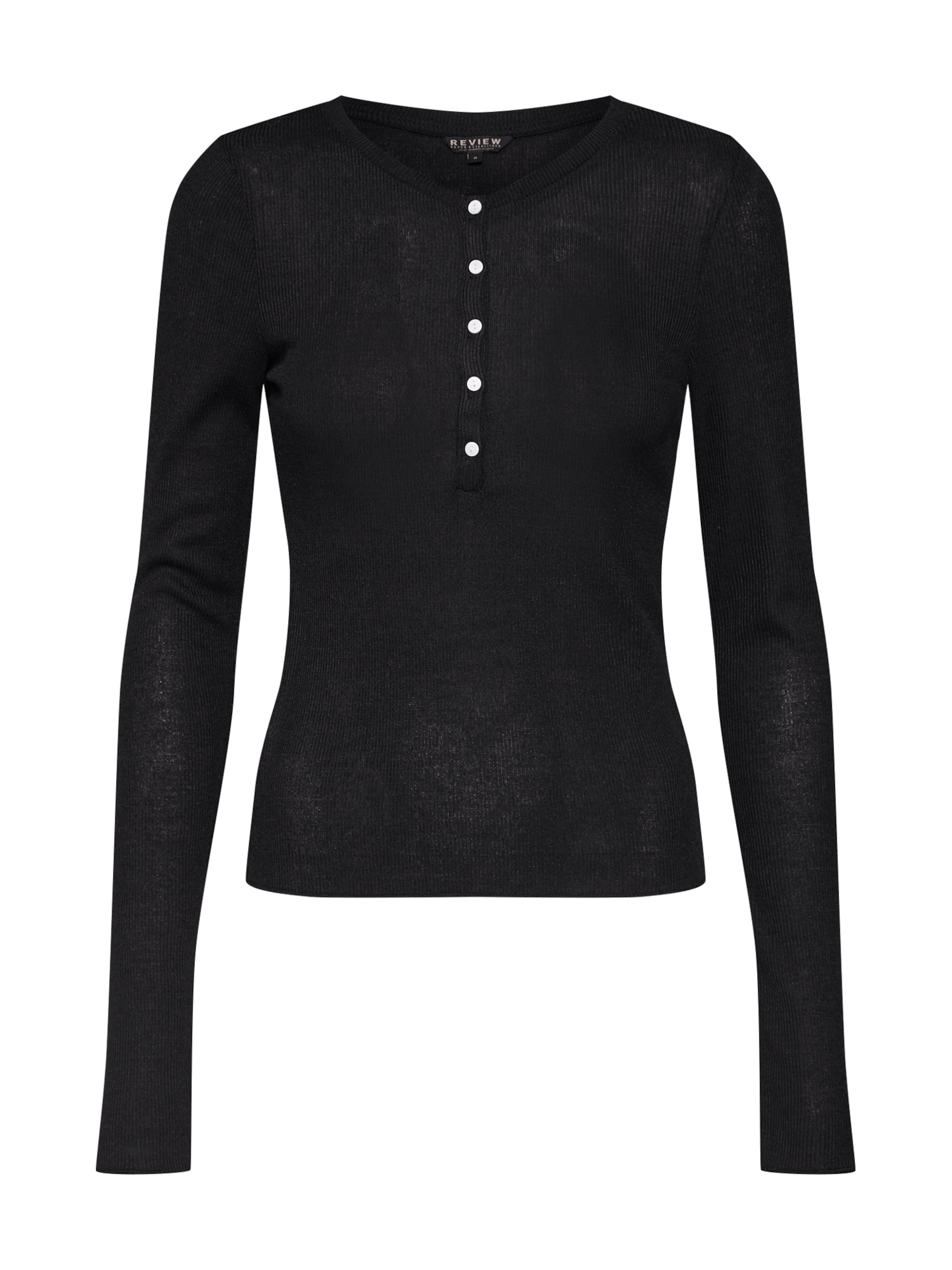 In 'henley Review Rib' Schwarz Shirt KJFcl1
