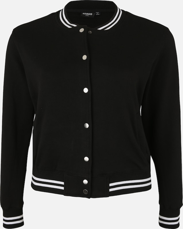 Urban Classics Curvy College Sweat Jacket in schwarz, Produktansicht