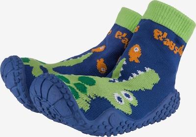 PLAYSHOES Aquasocken 'Krokodil' in blau / hellgrün, Produktansicht