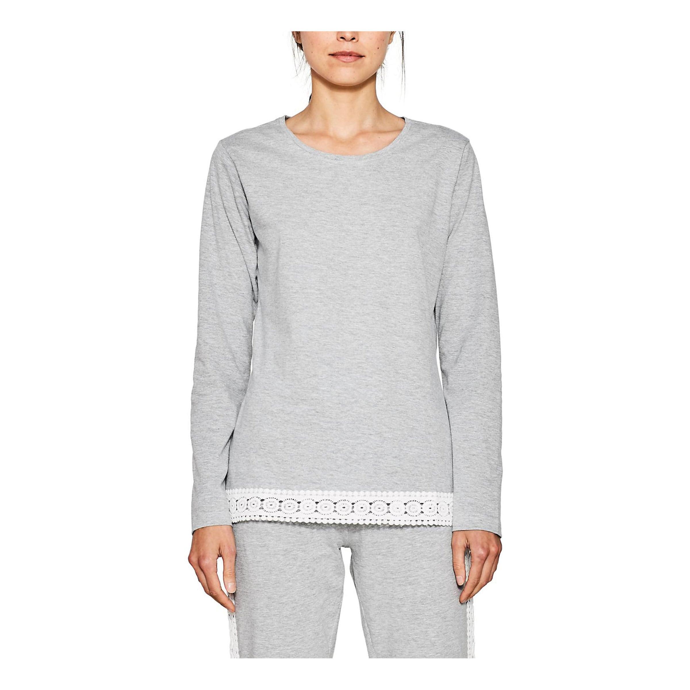 Esprit Schlafshirt GraumeliertWeiß In Bodywear 'bella' 9DIWHE2Y