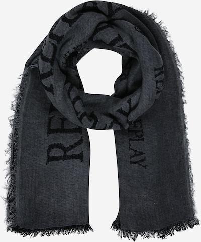 Fular REPLAY pe gri metalic / negru, Vizualizare produs