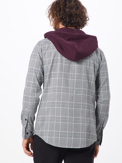 Dalykiniai marškiniai 'Hooded Glencheck Shirt' iš Urban Classics , spalva - antracito / vyno raudona spalva / balta: Vaizdas iš galinės pusės