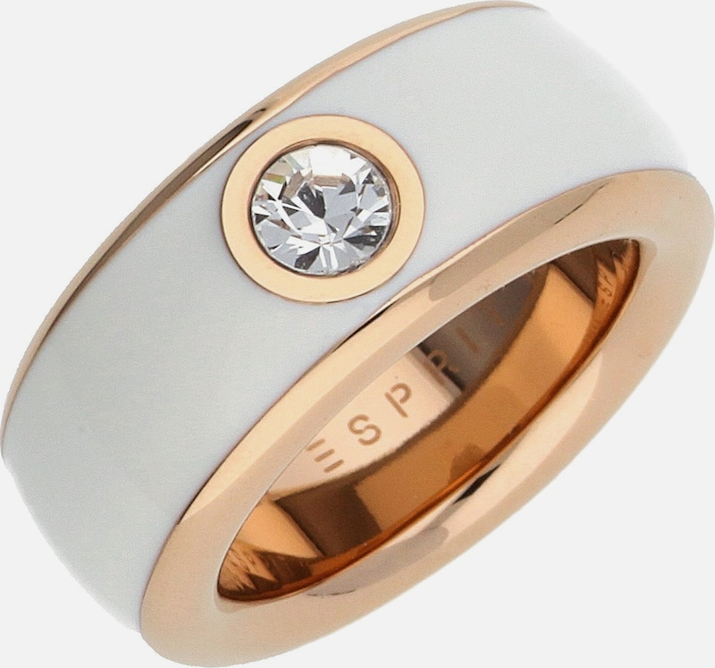 ESPRIT Damen Fingerring Edelstahl Rosegold/Weiß Fancy ESRG12194G