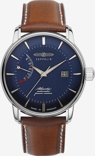 Zeppelin Uhr in dunkelblau / braun / silber, Produktansicht