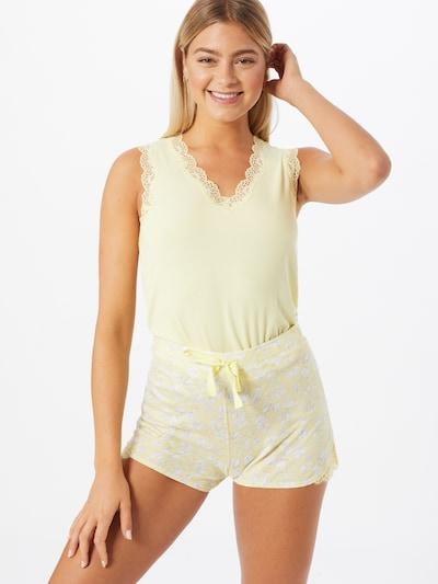 SCHIESSER Korte pyjama in de kleur Lichtgeel / Wit: Vooraanzicht