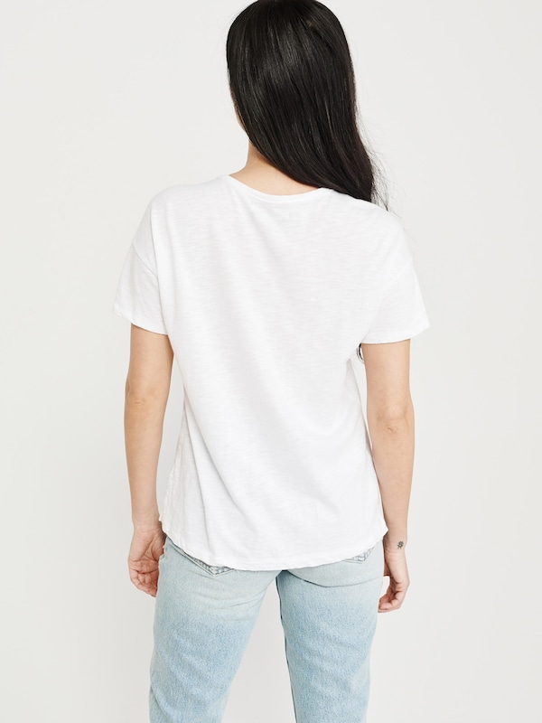Abercrombie & Fitch Shirt 'SB19-SS DROP SHOULDER TEE NEUTRALS' in weiß: Rückansicht
