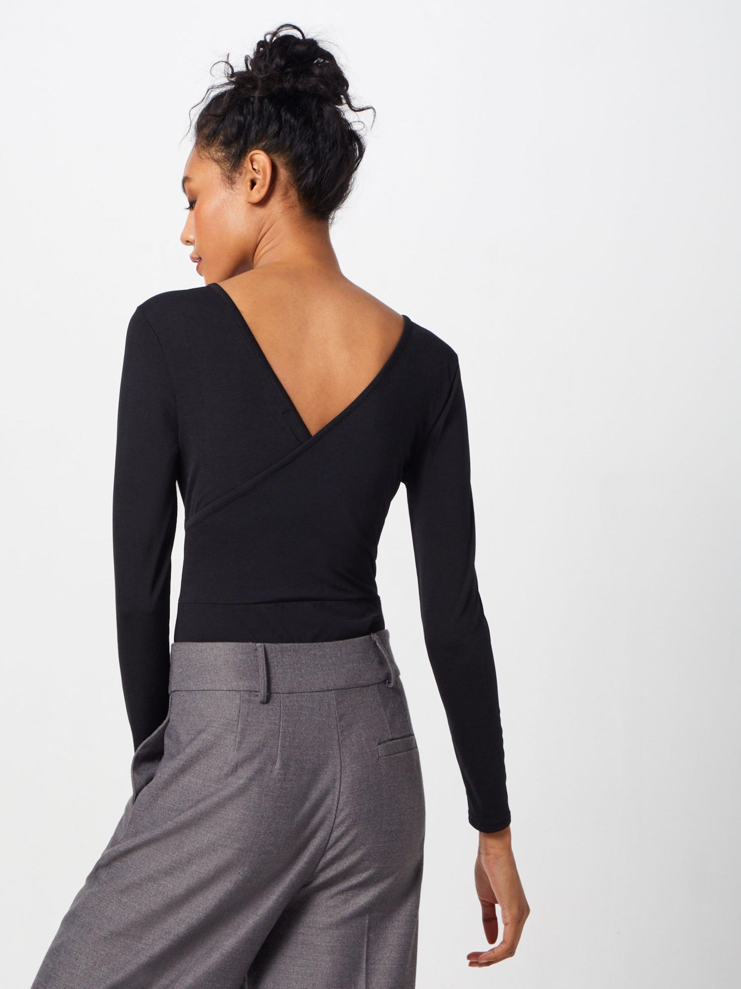 Boohoo In Shirt 'slinky Bodysuit' Wrap Zwart YEH2IeW9Db