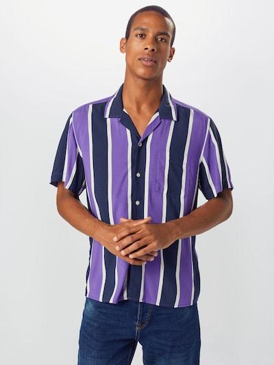 EDC BY ESPRIT Košile 'Bowling Stripe' - fialová / tmavě fialová / bílá: Pohled zepředu