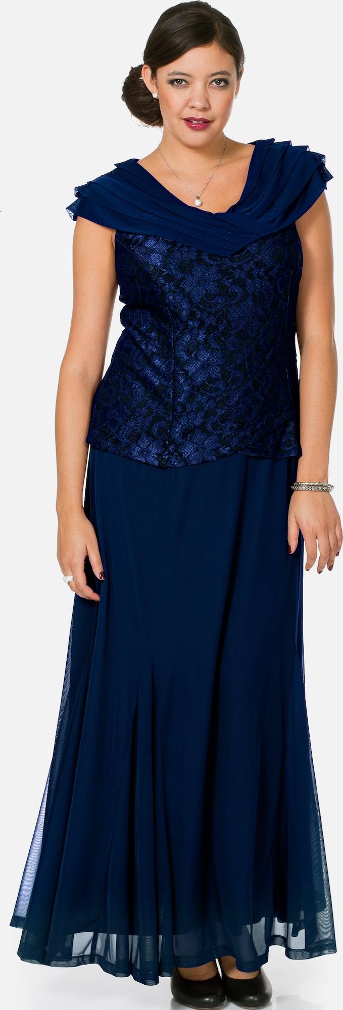 sheego style langes kleid mit spitze in blau about you. Black Bedroom Furniture Sets. Home Design Ideas
