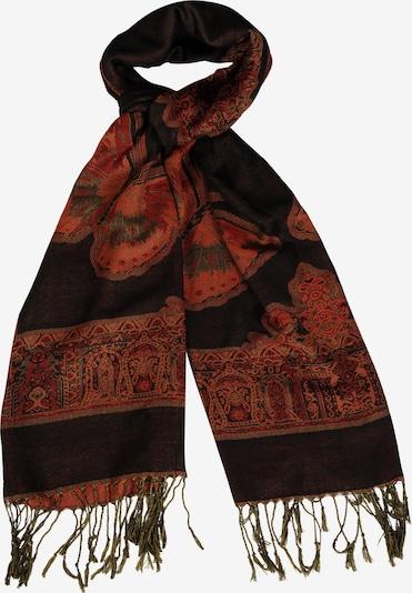 Silvio Tossi Schal in khaki / rot / orangerot / schwarz, Produktansicht