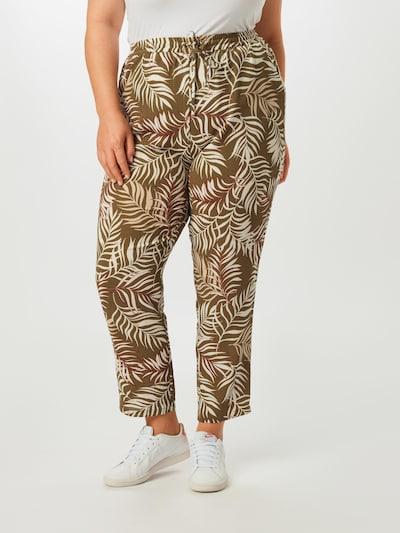 Pantaloni 'Carluxmai AOP' ONLY Carmakoma pe oliv / roșu / alb: Privire frontală