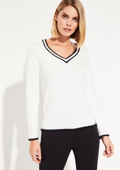 COMMA Strickpullover in schwarz / weiß, Modelansicht