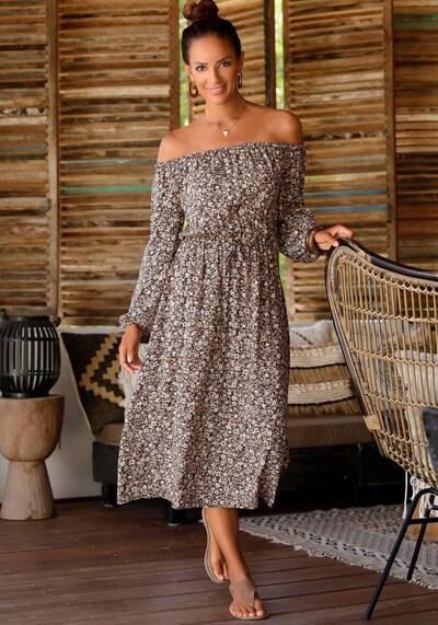 LASCANA Kleid in creme / hellbraun / tanne / schwarz, Modelansicht