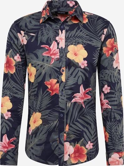 Dalykinio stiliaus marškiniai 'Floral AOP' iš SHINE ORIGINAL , spalva - tamsiai mėlyna / rožių spalva / šviesiai raudona, Prekių apžvalga