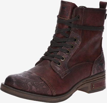 MUSTANG Lace-Up Ankle Boots in Red