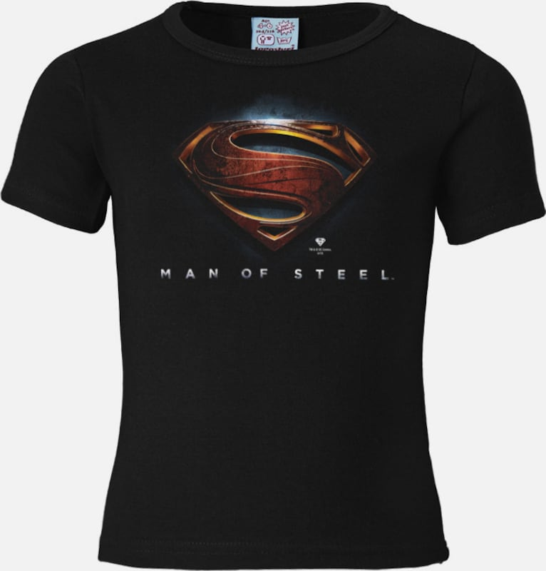 "LOGOSHIRT T-Shirt ""Superman - Man Of Steel"" in dunkelblau / karminrot / schwarz, Produktansicht"