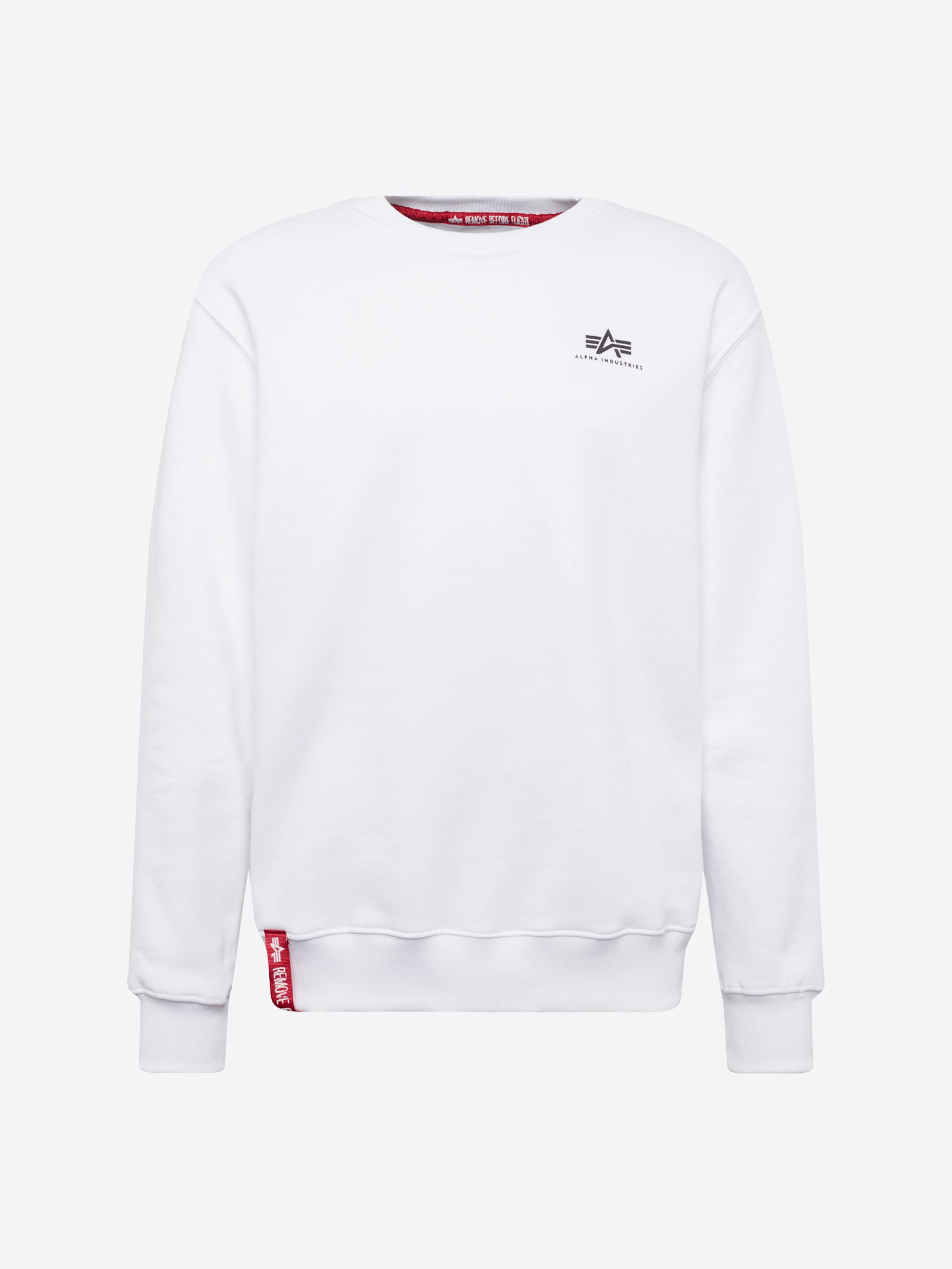 ALPHA INDUSTRIES Sweatshirt 'Small Logo' i vit