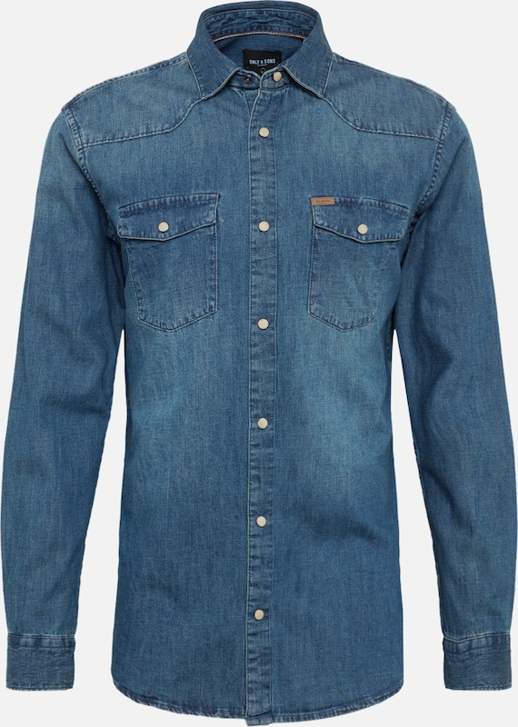 Only & Sons Jeans Hemd in blue denim, Produktansicht