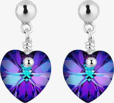 ELLI Ohrringe 'Herz' in lila / dunkellila / silber, Produktansicht