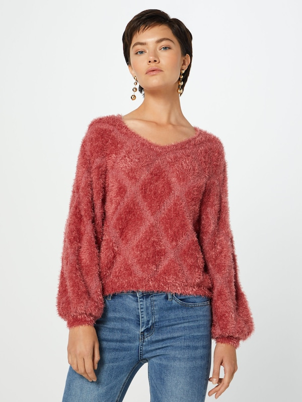 ONLY Pullover 'onlMALIA 7/8 PULLOVER KNT' in rosé: Frontalansicht
