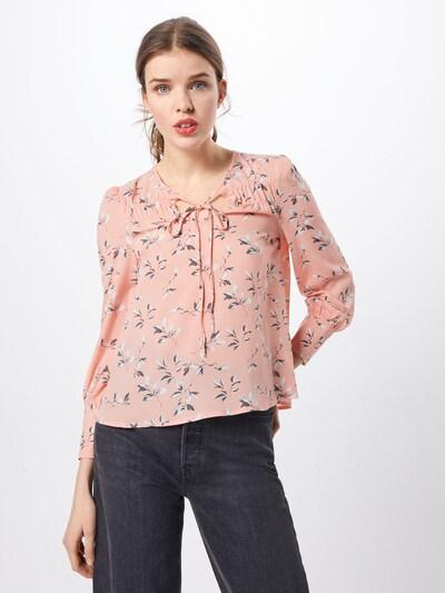 Boohoo Chemisier 'Floral Tie Neck Top' en rose / blanc, Vue avec modèle