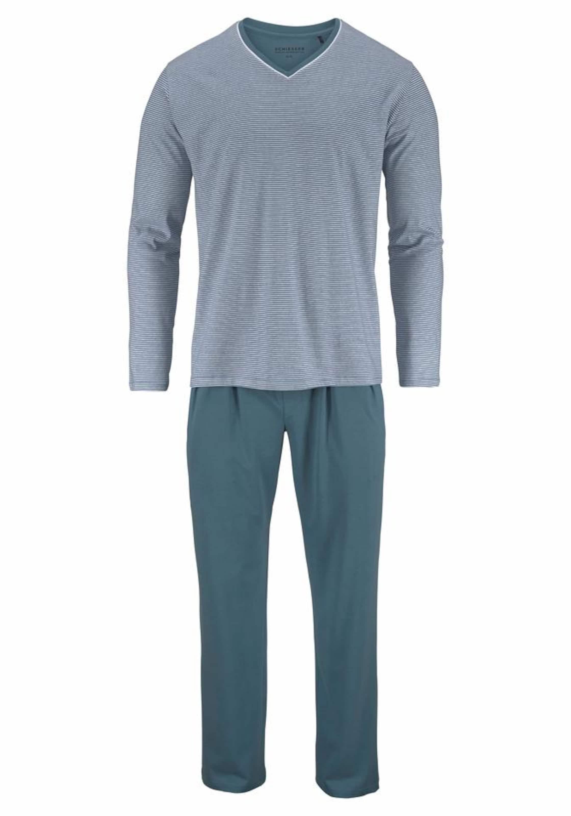 Pyjama Lang PastellblauGrau Pyjama Lang In Schiesser Schiesser In TKF1Jcl