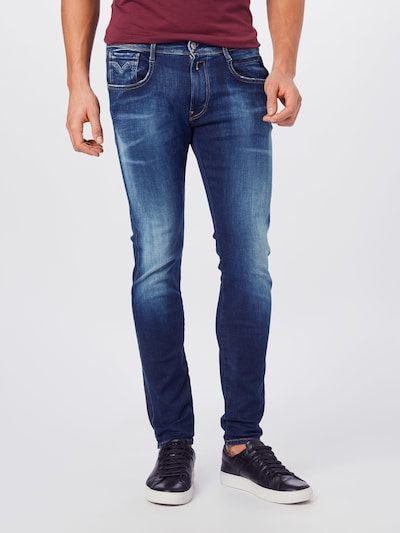 REPLAY Jeans 'ANBASS' in de kleur Blauw denim, Modelweergave