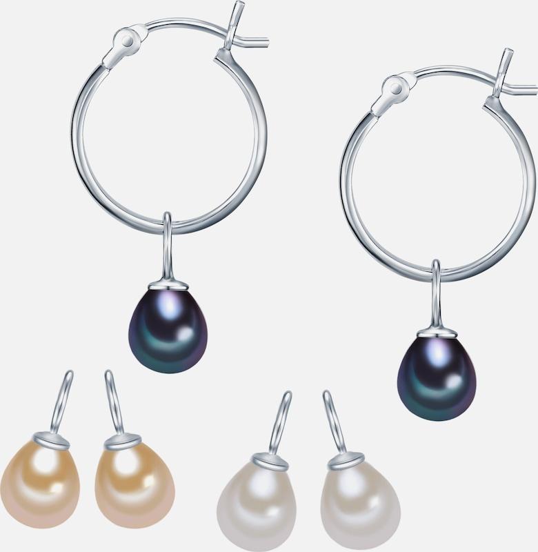 Valero Pearls Silber-Creolen mit Süßwasser-Zuchtperlen 3er Set