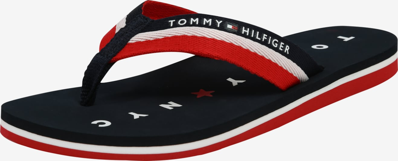 TOMMY HILFIGER Bade-Pantolette 'LOVES NY BEACH' in navy / rot, Produktansicht