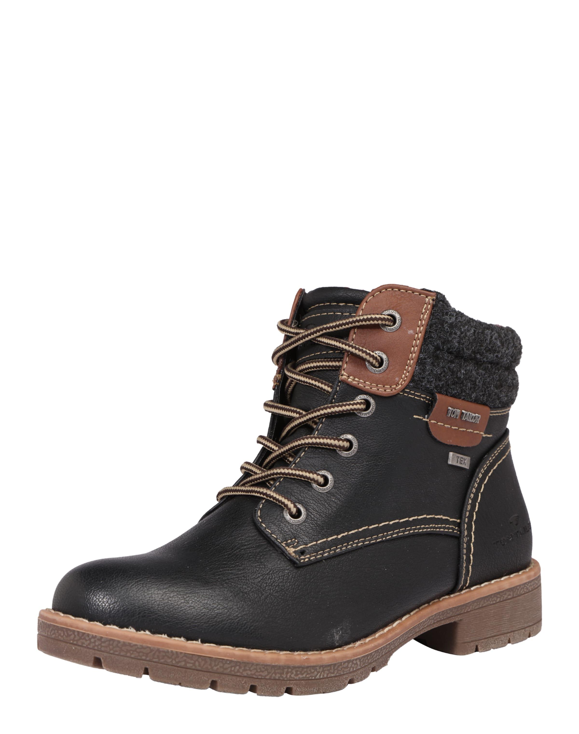 TOM TAILOR | Schnürstiefel mit Patches Schuhe Gut getragene Schuhe