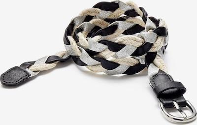 LASCANA Flechtgürtel in creme / schwarz / silber, Produktansicht