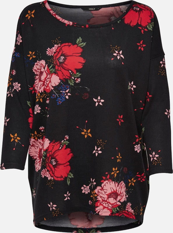 Only Floral Print Shell With A 3/4-sleeves