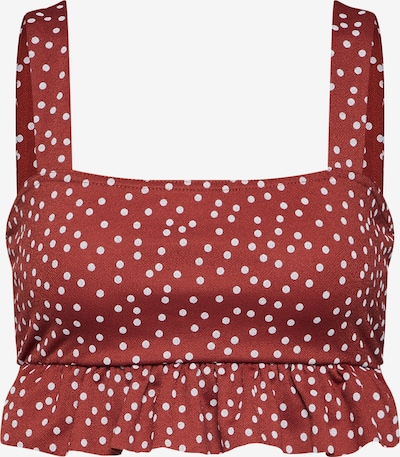 Missguided Top 'RUST POLKA DOT FRILL TOP' in rot, Produktansicht