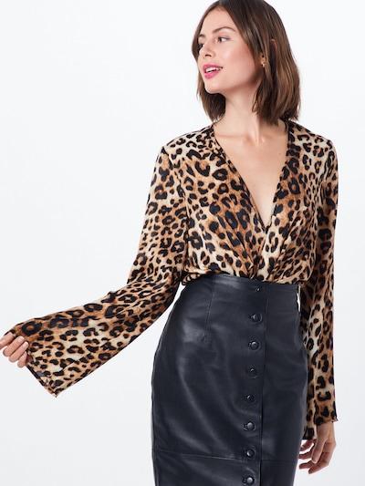 Bluză 'Animal Drape Plunge Bodysuit' Missguided pe maro / negru: Privire frontală