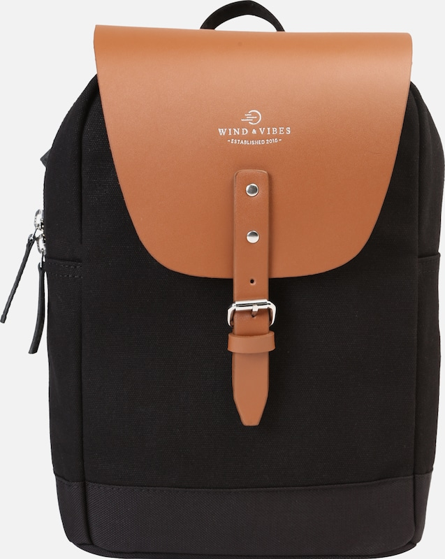 WIND & VIBES Rucksack 'Mayfair Canvas Mini' in cognac / schwarz, Produktansicht