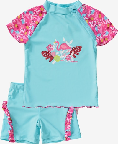 PLAYSHOES Schwimmanzug 'Flamingo' in türkis / hellgrün / pink / weiß, Produktansicht