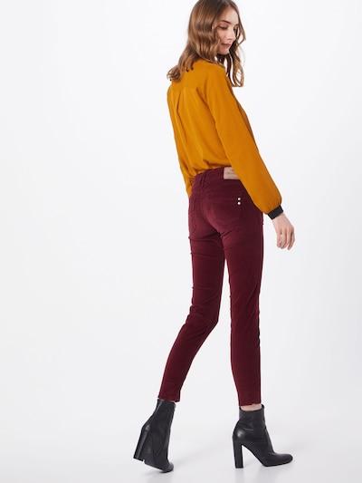 Herrlicher Pantalon 'Touch Cropped Velvet Stretch' en rouge: Vue de dos