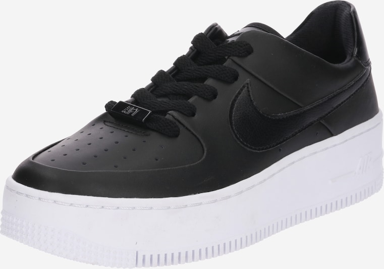 Nike Sportswear Sneaker Low 'Air Force 1 Sage' in schwarz / weiß: Frontalansicht