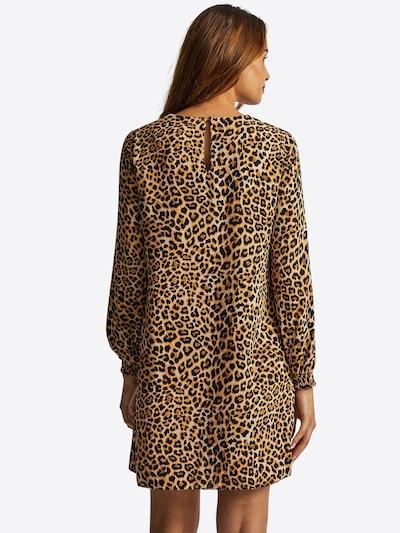 Dorothy Perkins Obleka 'ANIMAL RUFFLE LONG SLEEVE SHIFT DRESS' | bež barva: Pogled od zadnje strani