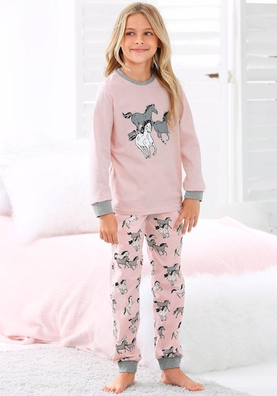 PETITE FLEUR Pyjama in grau / rosa / schwarz / weiß: Frontalansicht
