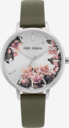 Julie Julsen Quarzuhr 'Blossom' in khaki / silber / weiß, Produktansicht