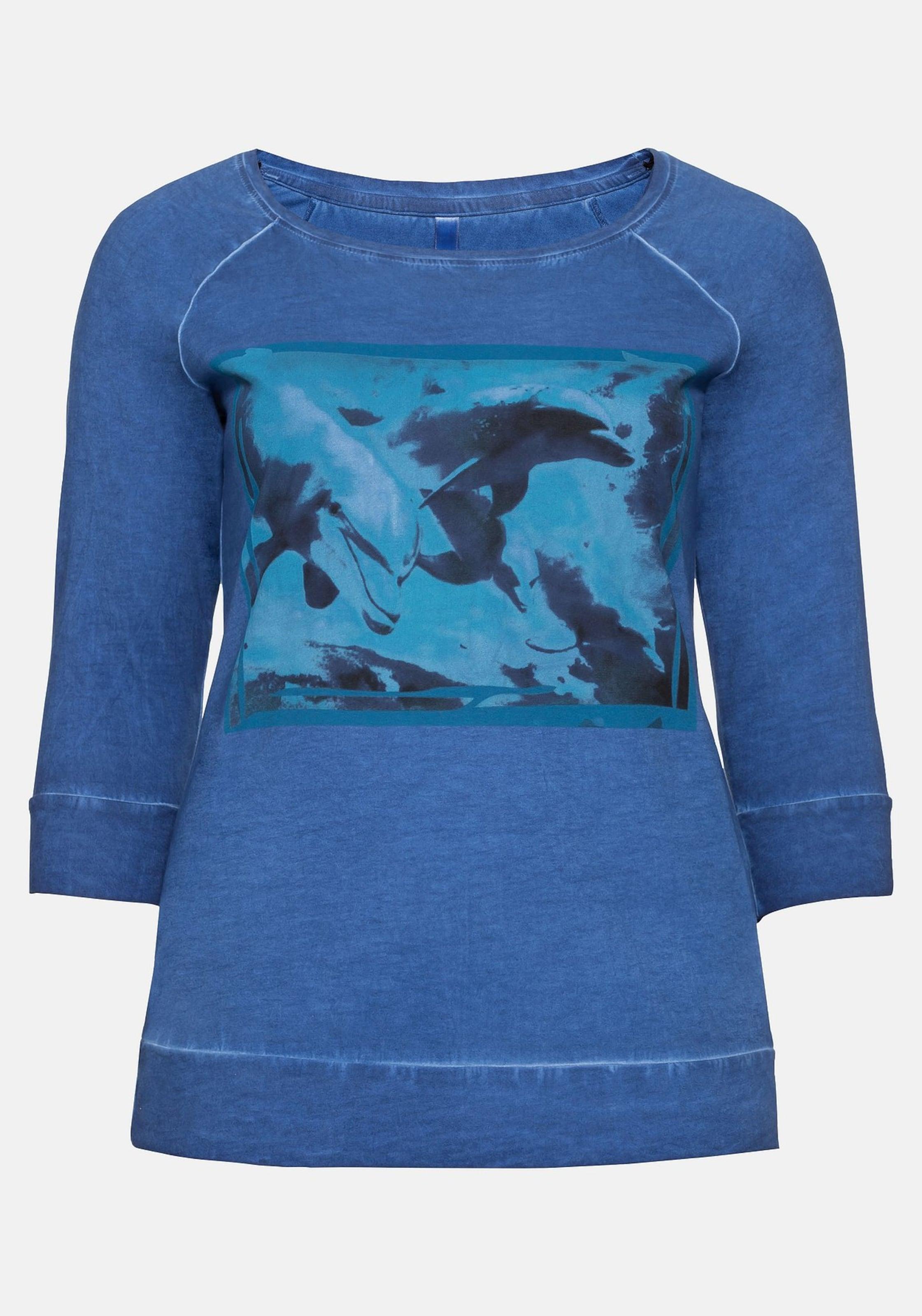 BlauMischfarben 3 In Sheego 4 arm shirt Mit Frontdruck eWE2H9IYD