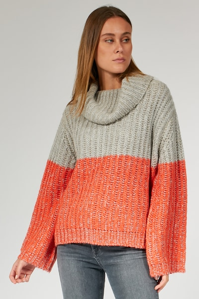 BLOOM Pullover TURTLE NECK OVERSIZE in grau / orange, Modelansicht