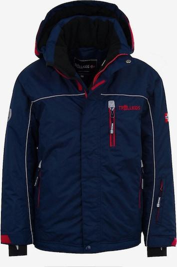 TROLLKIDS Skijacke 'Holmenkollen' in nachtblau / graumeliert / hellrot, Produktansicht